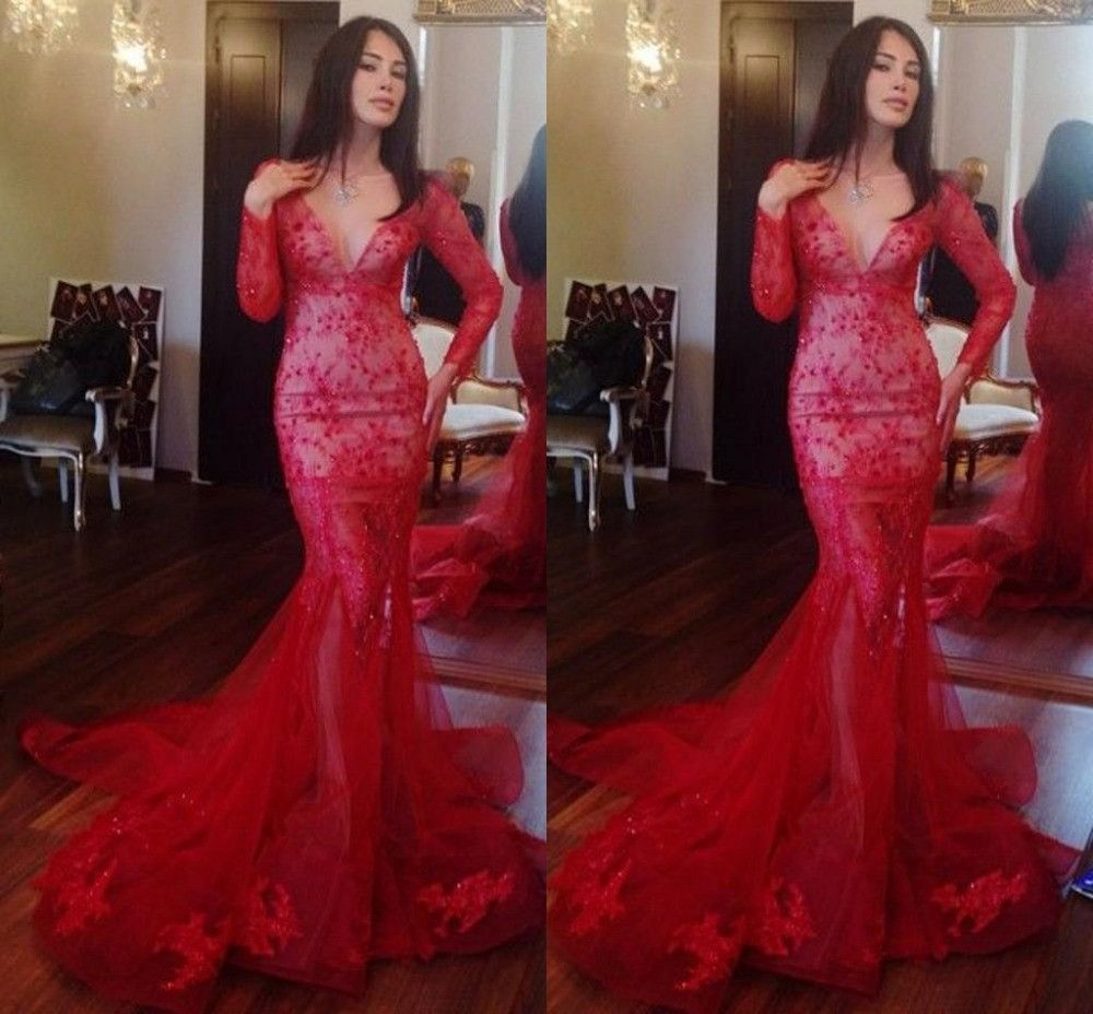 Red prom dressmermaid prom dresslong sleeves prom dress long prom