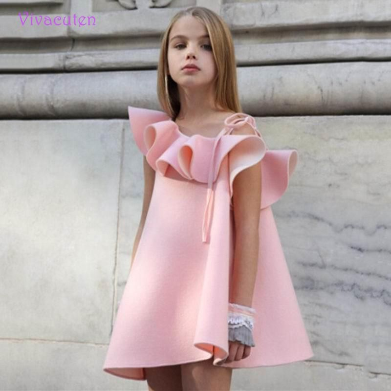 Meninas Marca Vestido Rosa Praia Verão Estilo Floral Imprimir ...