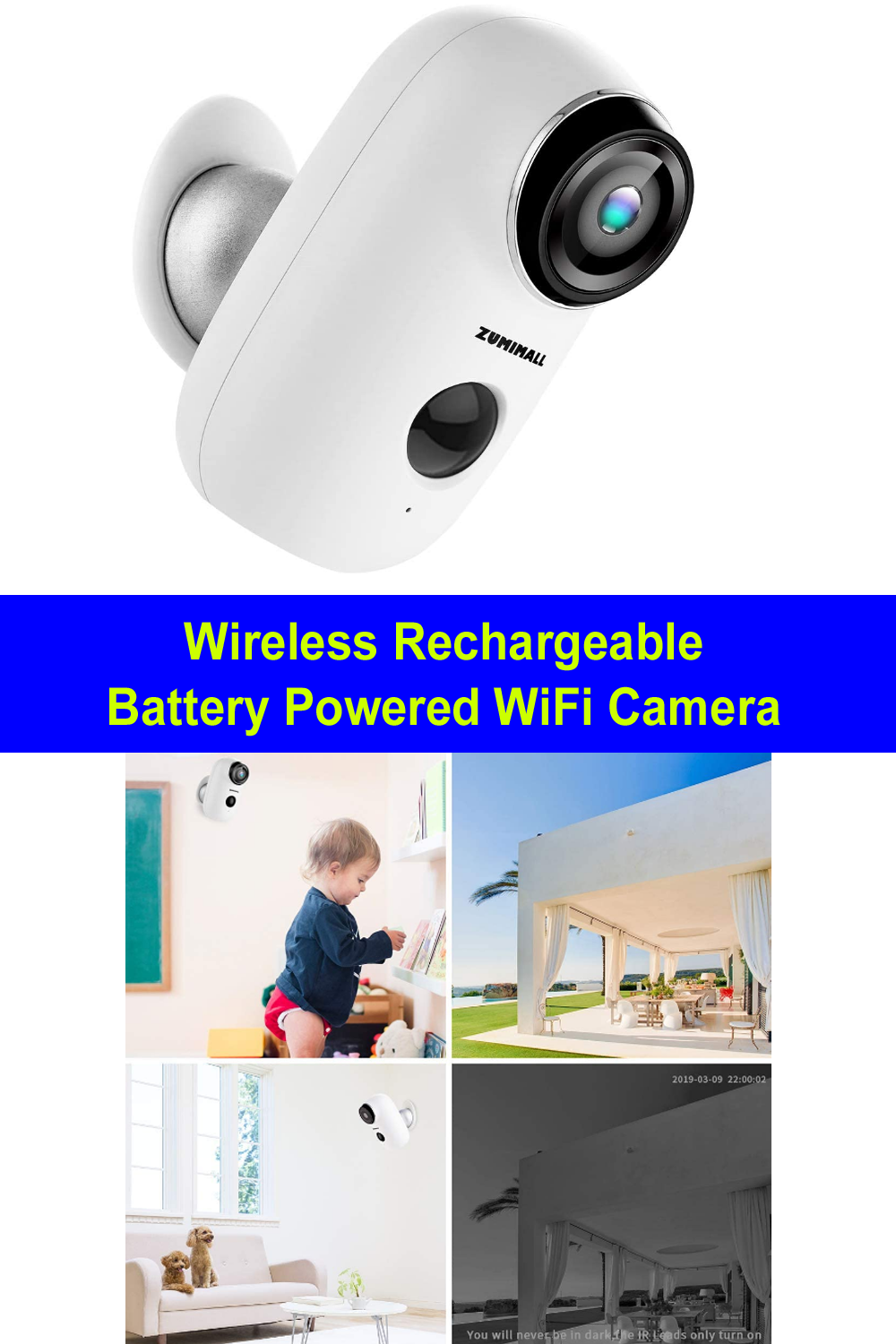 Wireless Rechargeable Battery Powered Wifi Camera Security Cameras For Home Best Security Cameras Video Surveillance