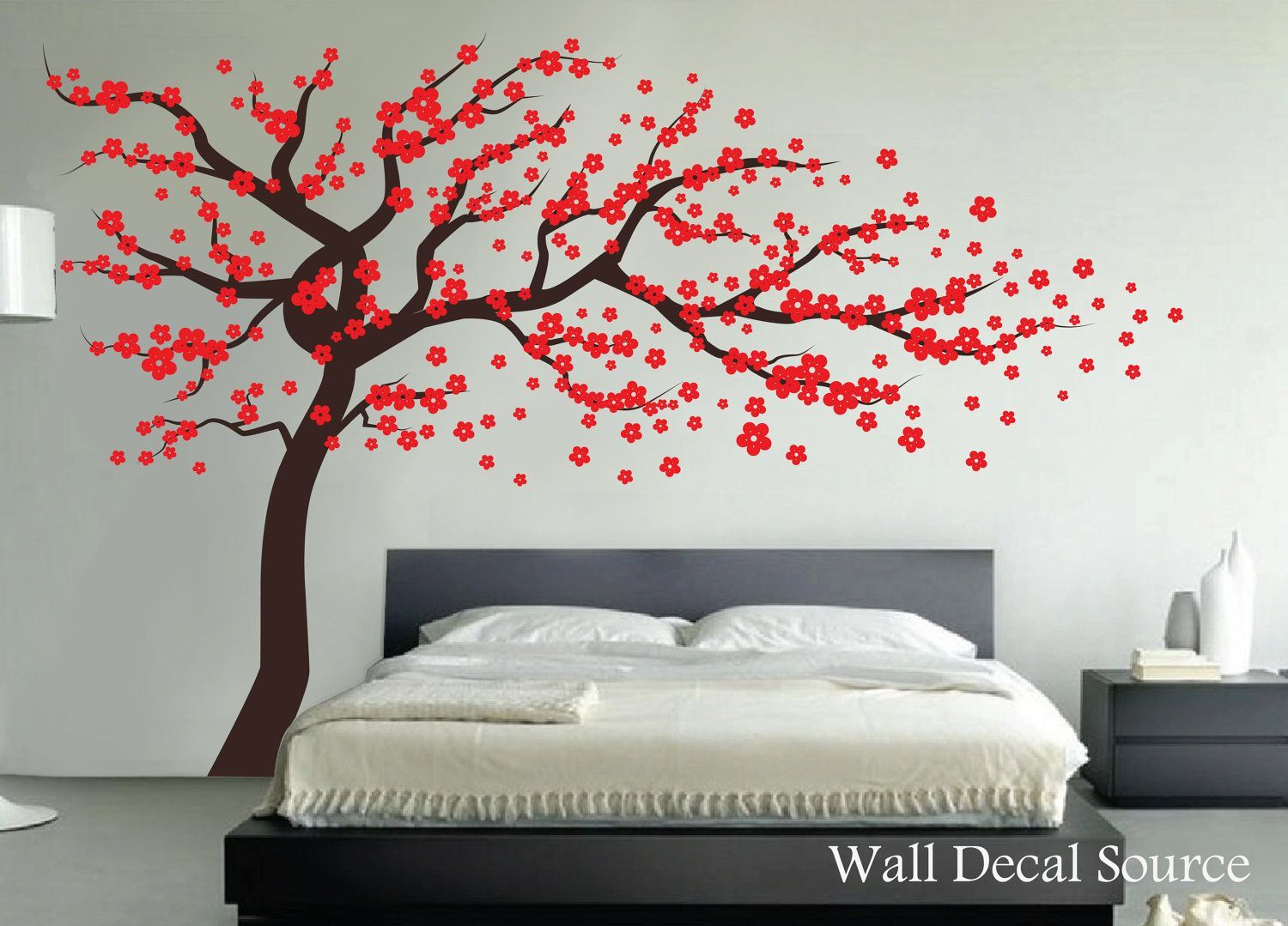 Red Cherry Blossom Tree Wall Decal Vinyl Wall Decor Wall Tree Decal Reusable Available By Walldecalsource Wall Vinyl Decor Home Wall Decor Tree Wall Decal