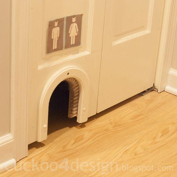 Cat Litter Toilet Sign {litter Box Is Inside A Closet That Has Bifold Door}