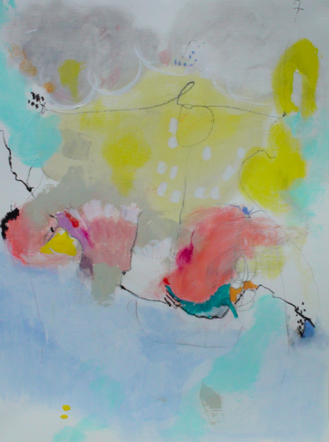 pluie 18 x 24 acrylic and oil pastel on paper.