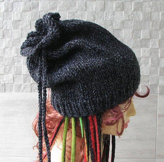 80018b260edf1 Knitted Men tube Dreadlocks Hat Warm and Super Chunky Beanie  dreadlocks   tubehat  knitting