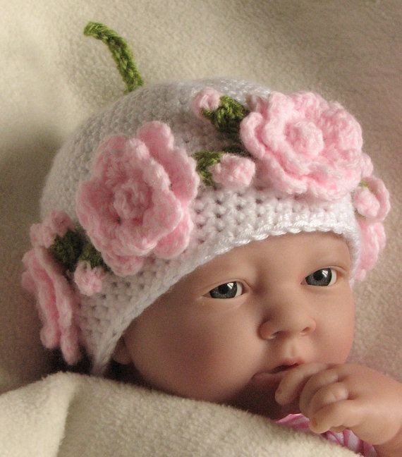 Crochet pattern for Rose Garland baby hat in 4 by Stitchykits, $3.50
