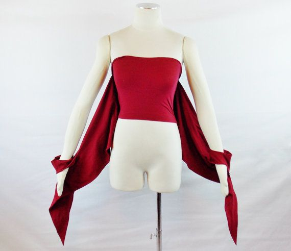 Vintage ROMEO GIGLI  AVANT Garde Wrap off Shoulder Tube Top with Sleeves Cranberry Size Small