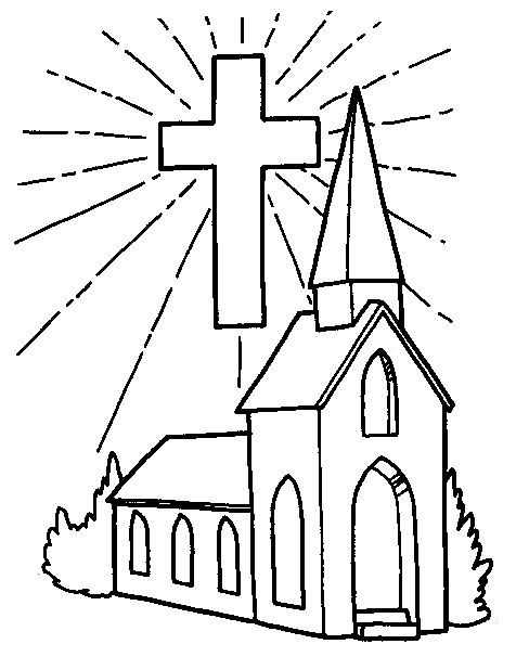 Church And Cross Coloring Page Cross Coloring Page Easter Coloring Pages Sunday School Coloring Pages