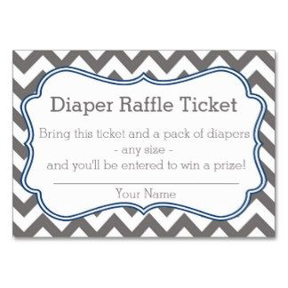 Grey And Blue Chevron Diaper Raffle Ticket Large Business Cards