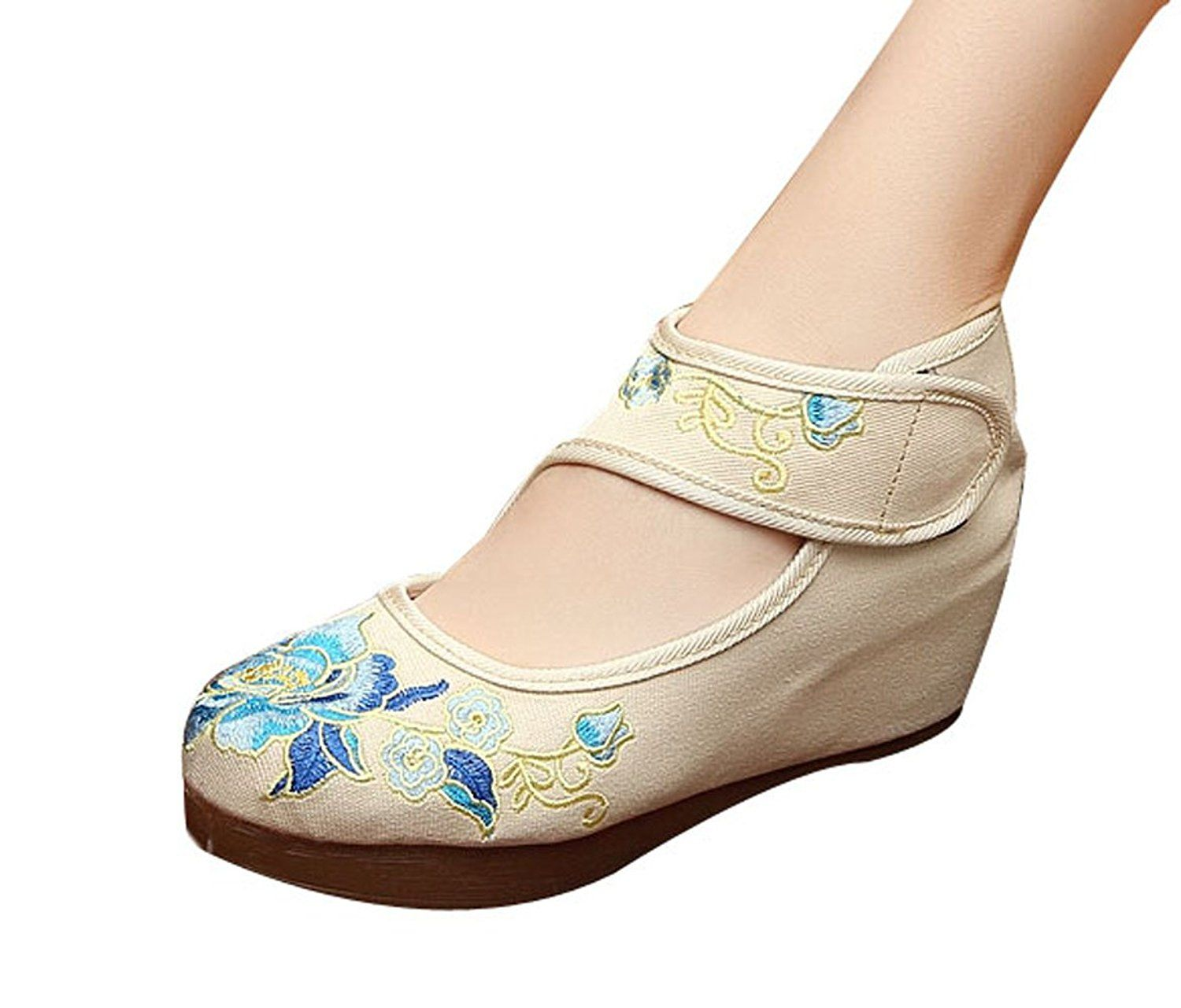 Womens Embroidery Floral Exotic Platform Wedges