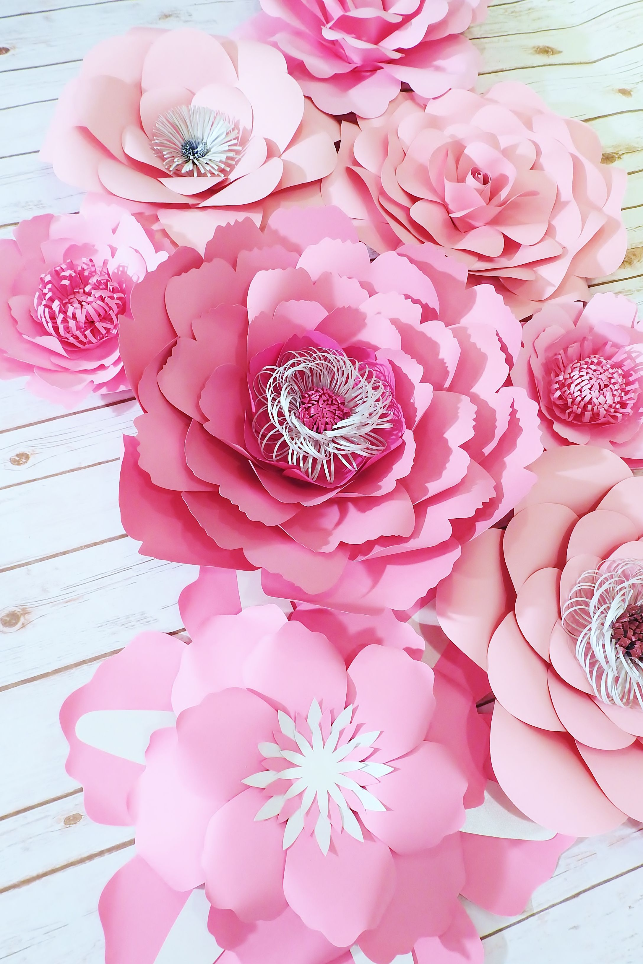Large paper flowers flower wall pink backdrop baby shower also rh pinterest