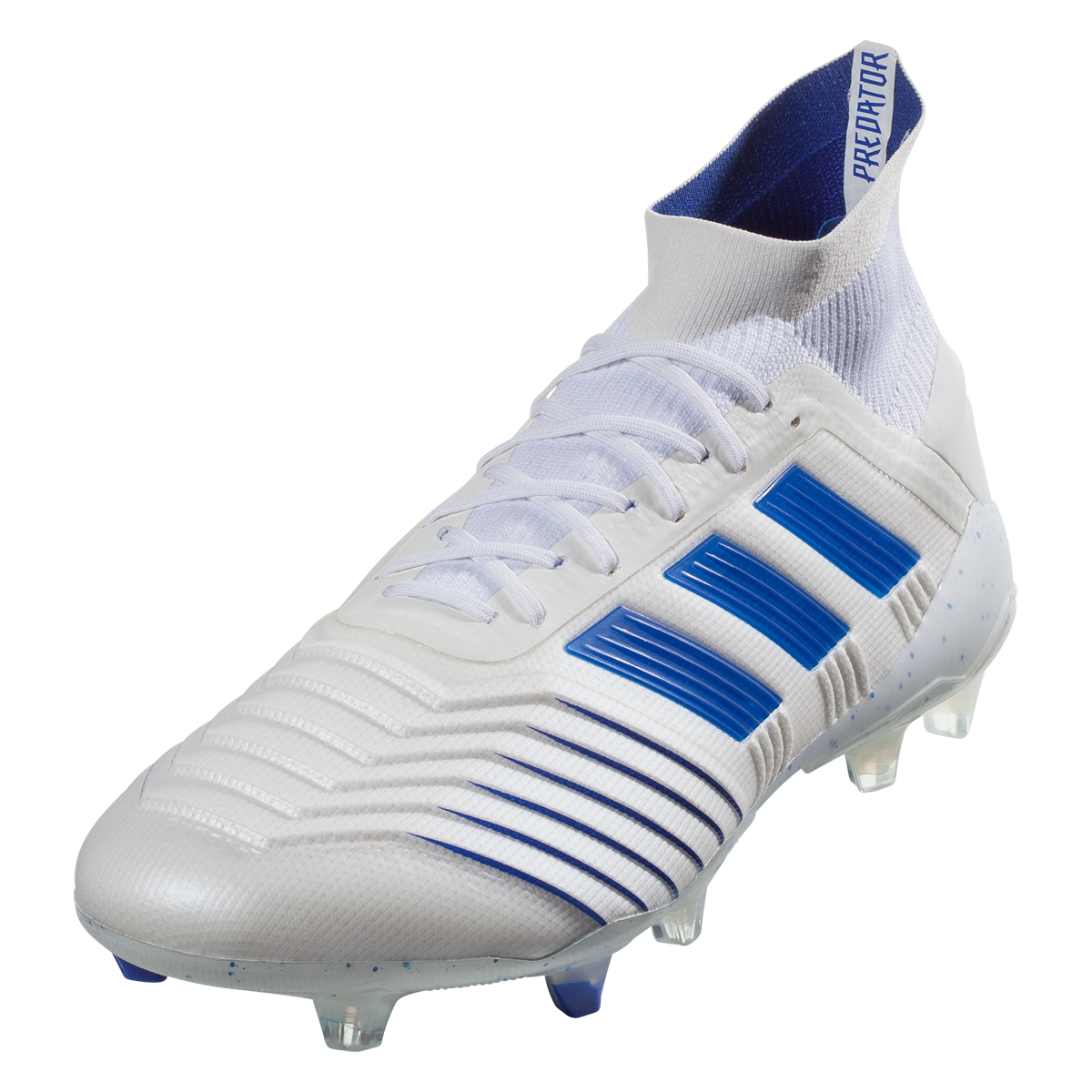 Adidas Predator 19 1 Fg Firm Ground Soccer Cleat White Blue 10 Adidas Soccer Shoes Soccer Cleats Best Soccer Cleats