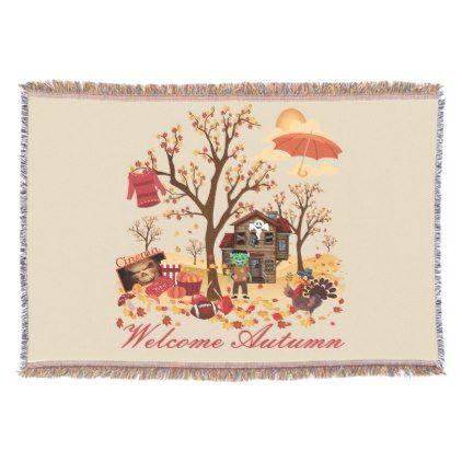 Welcome Autumn Fall Scenery Throw | Zazzle.com #fallscenery