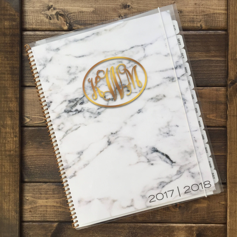 2017 2018 Monogram Planner In Marble Personalized Planner Elegant Planner School Year Planner Gold Monogram Monogram Planner Marble Planner Elegant Planner