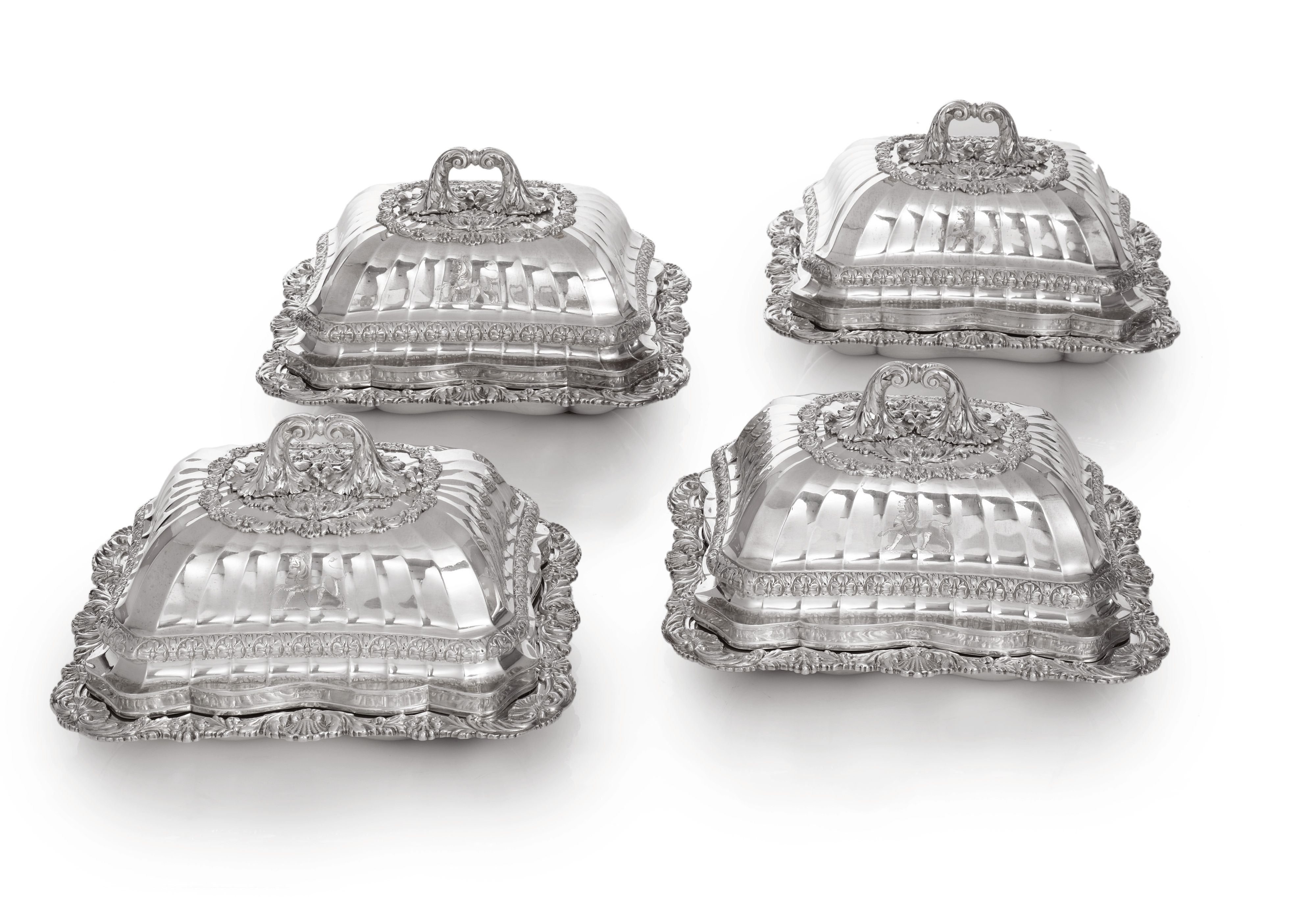 A SET OF FOUR GEORGE IV SILVER ENTRÉE DISHES & COVERS, the design attributed to Edward Hodges Baily, Philip Rundell for Rundell, Bridge and Rundell, London, 1821 SOLD. 74,500 USD