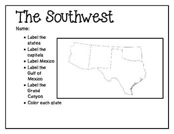 Southwest Mapping Activity | 4th grade | Map activities, States ...