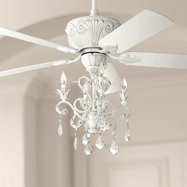 52 Casa Deville Rubbed White Chandelier Ceiling Fan 64r09