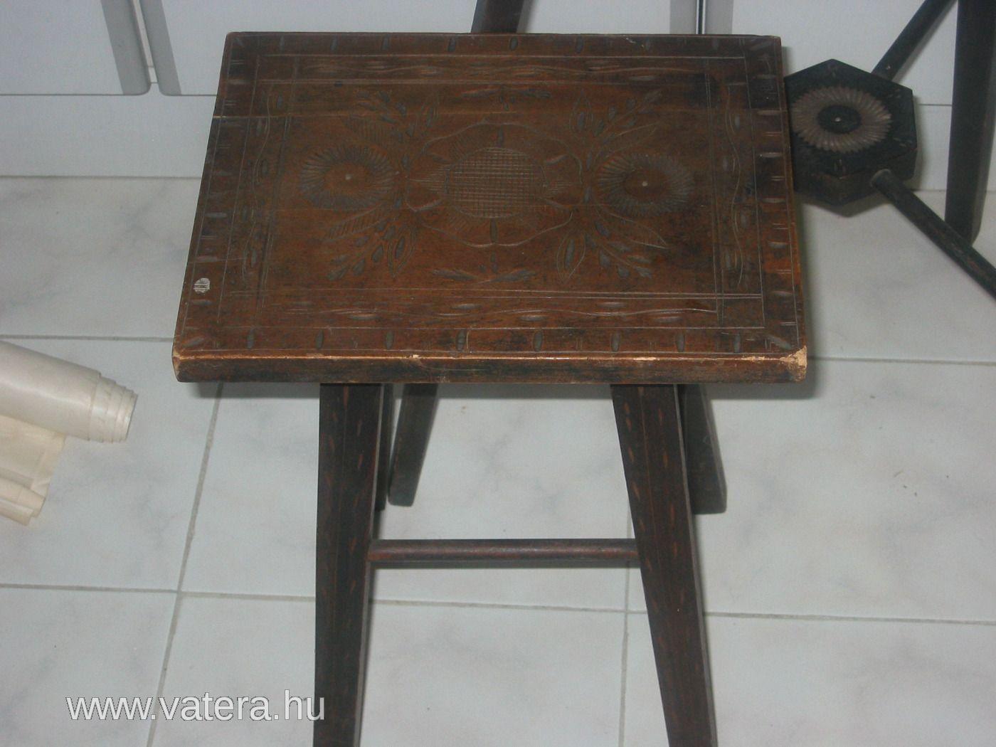Régi Kalotaszegi karcolt antik Erdélyi asztal+ szék 2DB