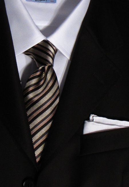 Black suit white shirt and striped tie things wish list for Mens black suit and shirt combinations