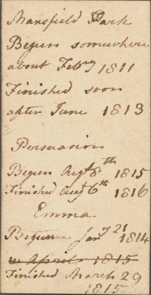 005 Jane Austen's handwriting a list of her novels Mansfield