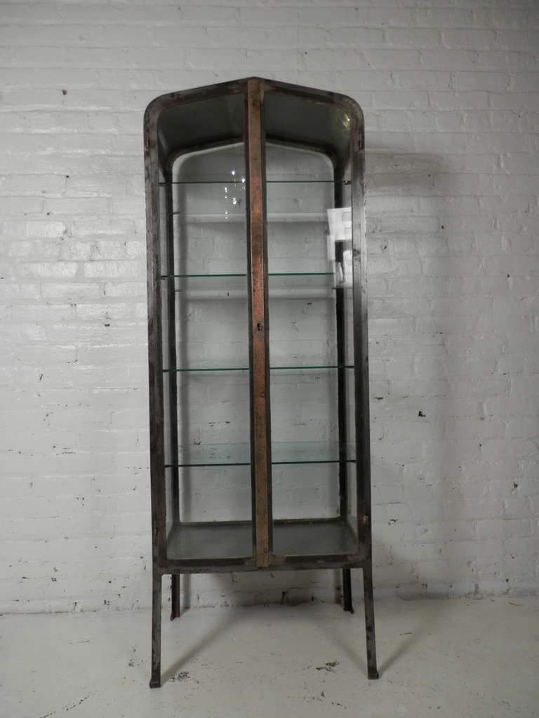 Antique Metal And Glass Cabinets Vintage Apothecary Metal