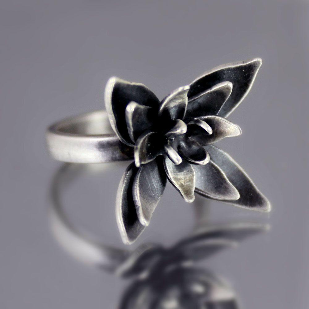 Oxidized Flower Blossom Ring