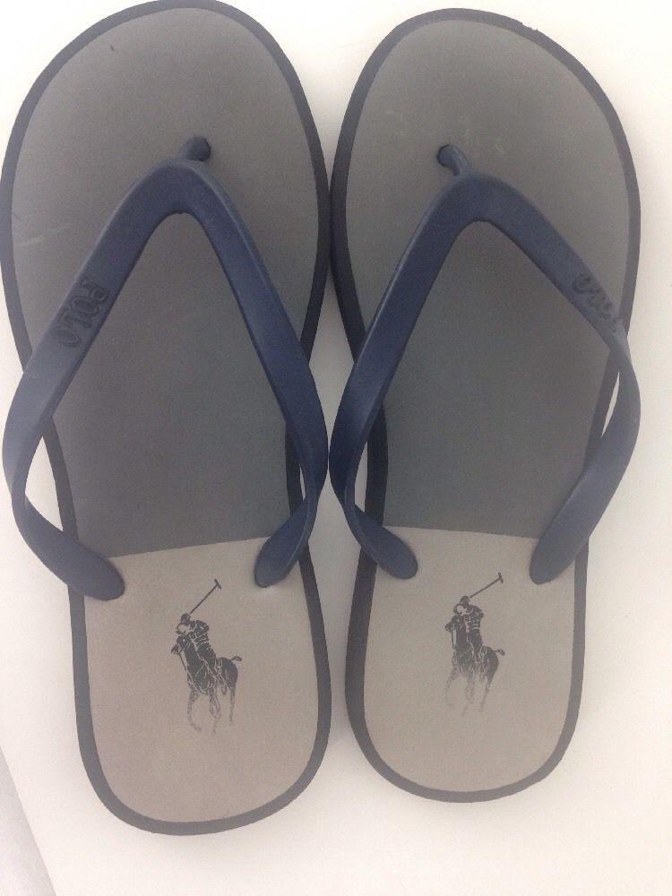 1d618a35a Polo Ralph Lauren Black   Blue Rubber Thong Sandals Flip Flops Mens 10   RalphLauren  FlipFlops