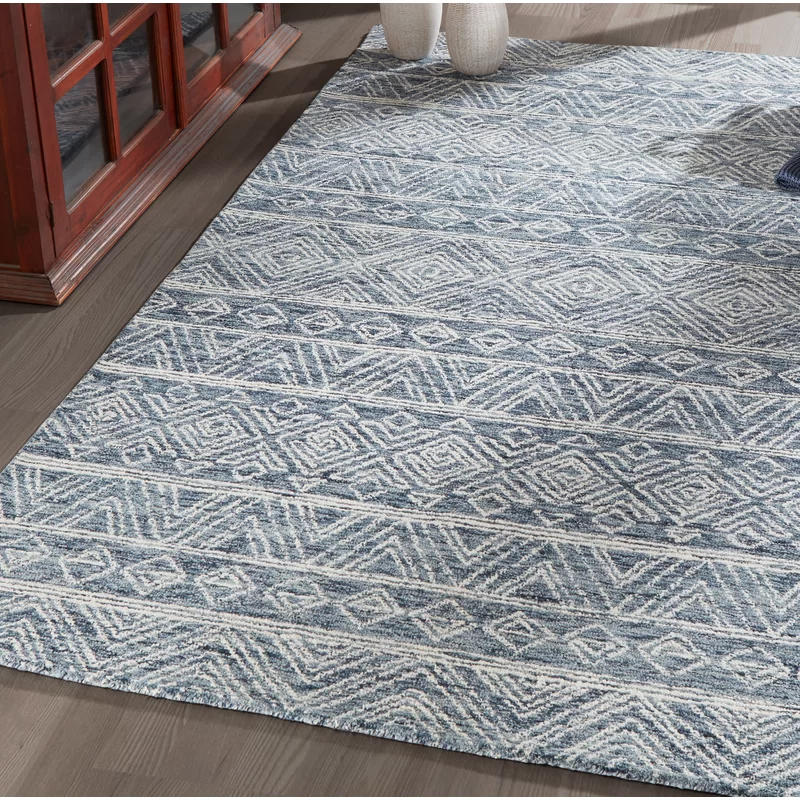 Union Rustic Vanhorn Hand Hooked Wool Denim Area Rug Wayfair Area Rugs Hooked Wool Ivory Rug