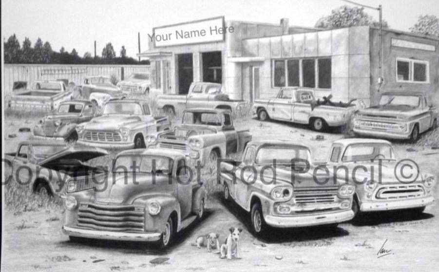 Chevy Pickup Truck Junk Yard #Customized Pencil #Drawing Print, View ...
