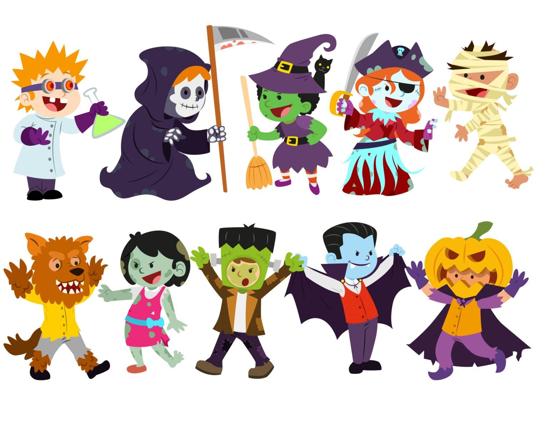 Halloween Clipart Costume Clipart Halloween Kids Clipart Trick Kids In  Halloween Costumes Clipart 1500 1208 At Clipart Of Halloween
