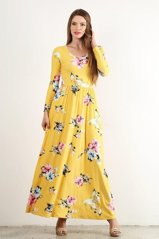 11c54ea37773 Long Sleeve Floral Maxi Dress - Yellow in 2019