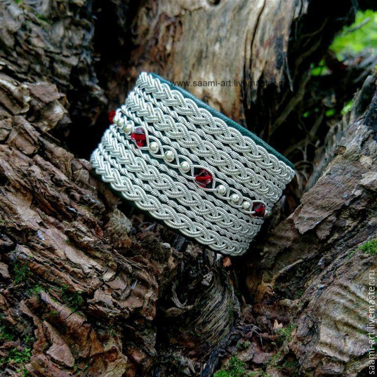 Широкий белый кожаный браслет