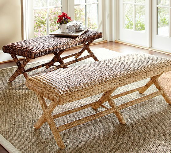 Seagrass Bench | Pottery Barn $399 Woven seagrass brings richly variegated  texture and color to the - Seagrass Bench Pottery Barn $399 Woven Seagrass Brings Richly