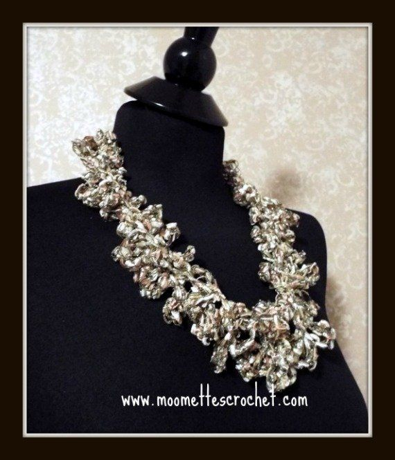 #Pastel Ladder Yarn #Necklace Crochet Necklace Trellis Necklace #Ribbon Chunky Necklace #Handmade