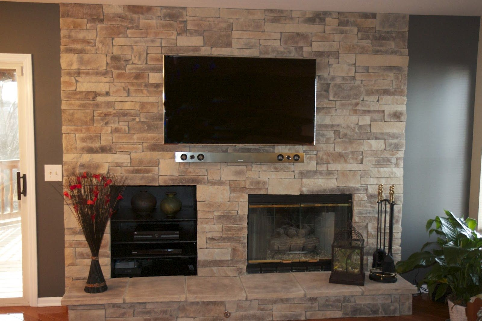 feature walls with tv and fireplace inspiring stone fireplace wall ideas with cream brick stone and - Stone Fireplace Design Ideas