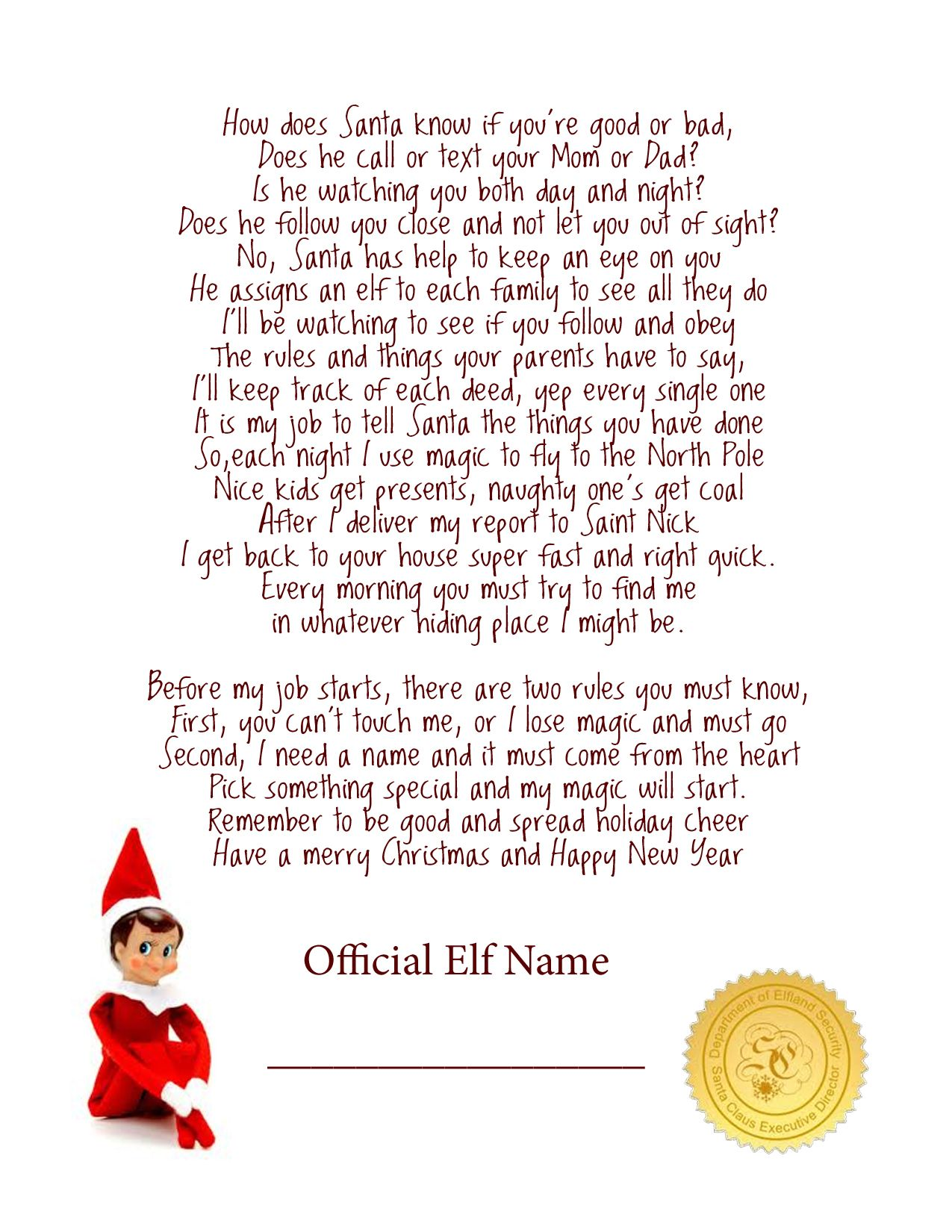 elf on a shelf letter free download at lillunacom she will understand the birth of christ first but this is fun