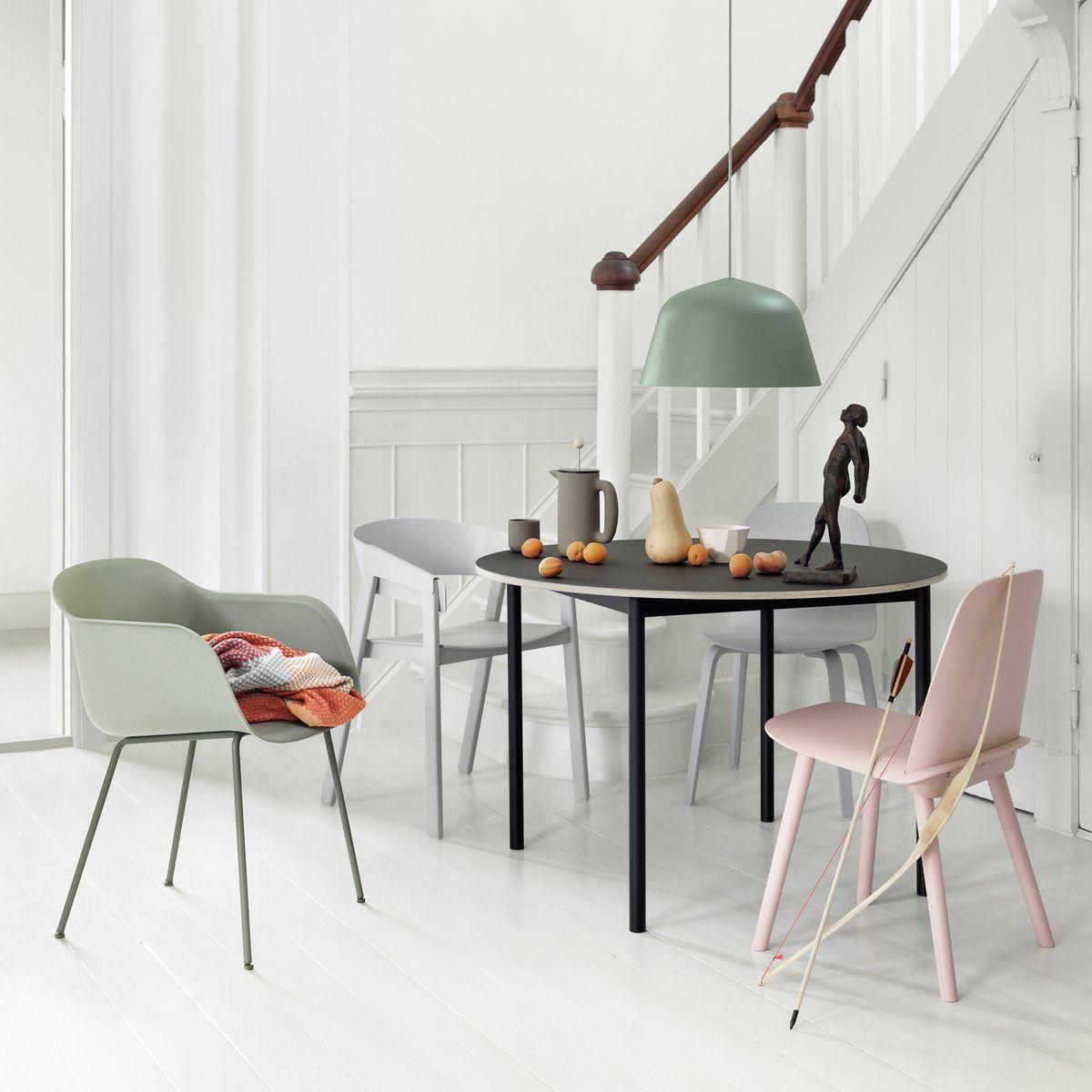 muuto - base table Ø 110 cm, weiß / laminat mit sperrholzkante, Esstisch ideennn