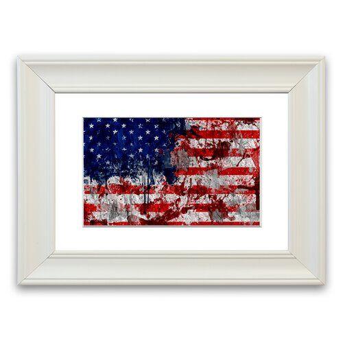 East Urban Home Gerahmtes Poster US-amerikanische Flagge im Grunge-Stil | Wayfair.de