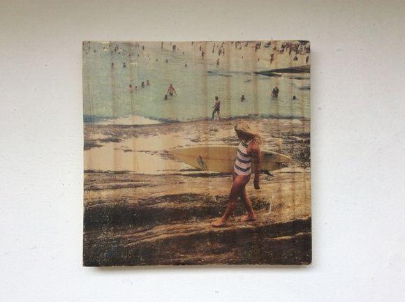 Quadro foto em madeira - Surf Girl