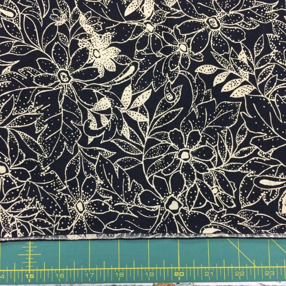 This listing is for a floral piece 1 yard x 42 inches wide. Very dark navy that can seem like black. 4 yards available in one piece  From a no pet,