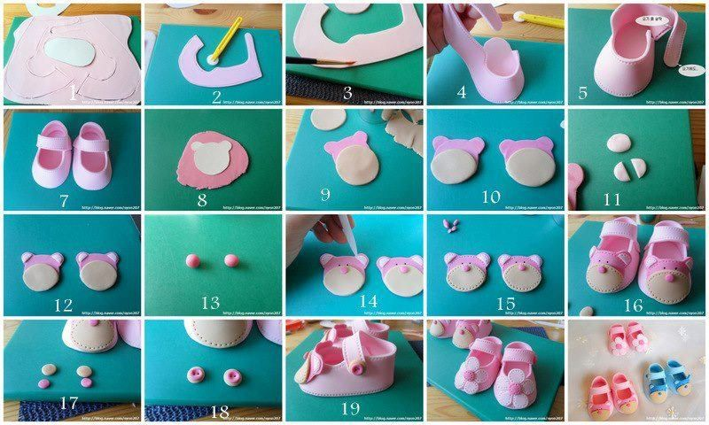 how to make gumpaste baby shoes for cake toppers_step by step.Oh so very cute!