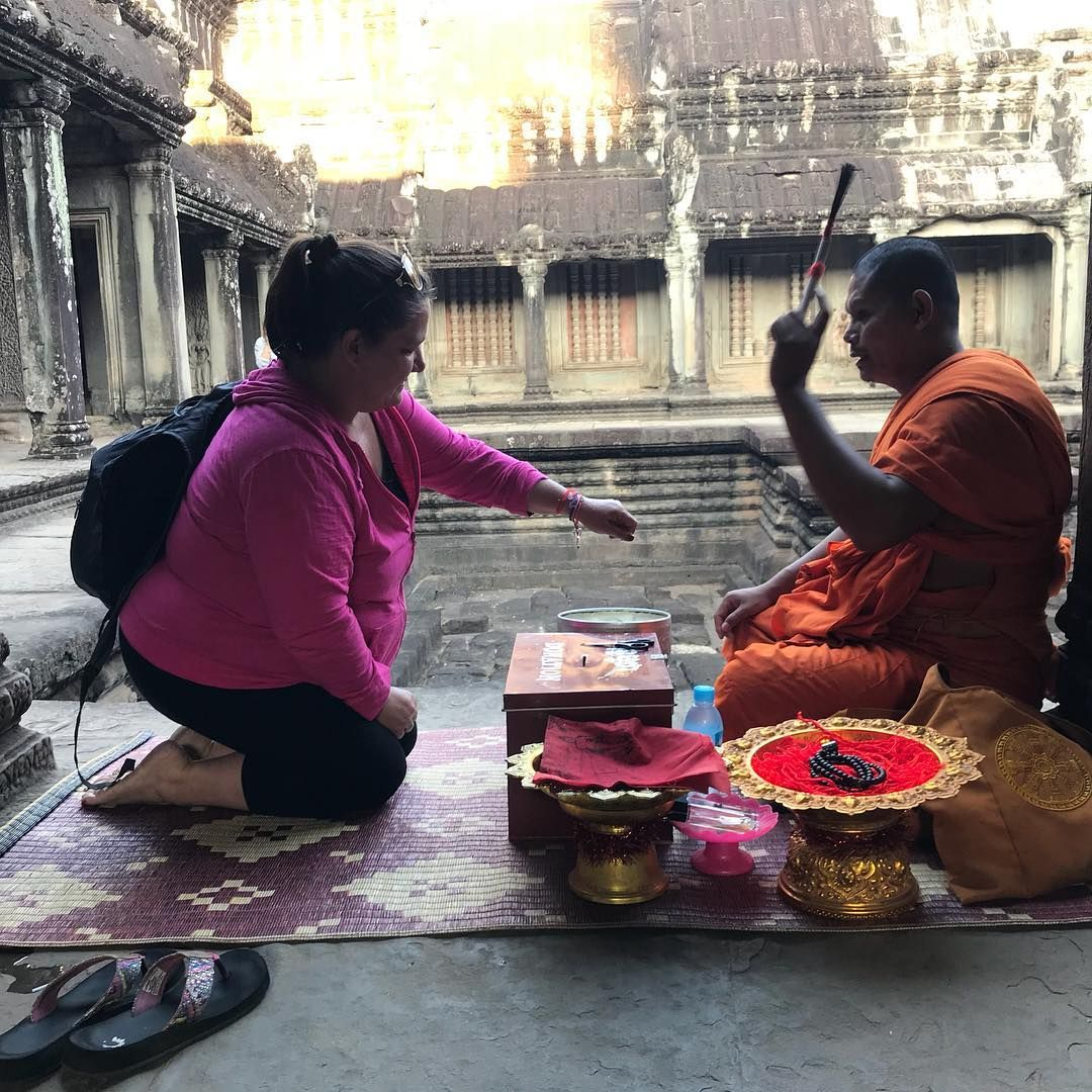 Being blessed by a monk #travelwithxpressionstravel #xpressionstravel @xpressions_travel #travel #grouptravel #traveltheworld  #cambodia