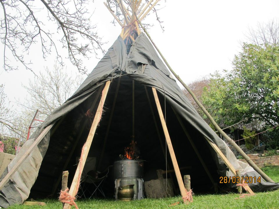 CANVAS TEEPEE TENT TIPI YURT LAVVU 12 POLE 12 FOOT HIGH 12 FOOT WIDE WITH FIRE : canvas tipi tent - memphite.com