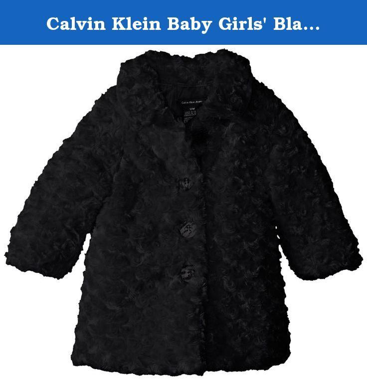 Calvin Klein Baby Girls Black Faux Fur Jacket Black 24 Months Jacket Black Faux Fur Jacket Calvin Klein Baby Black Faux Fur