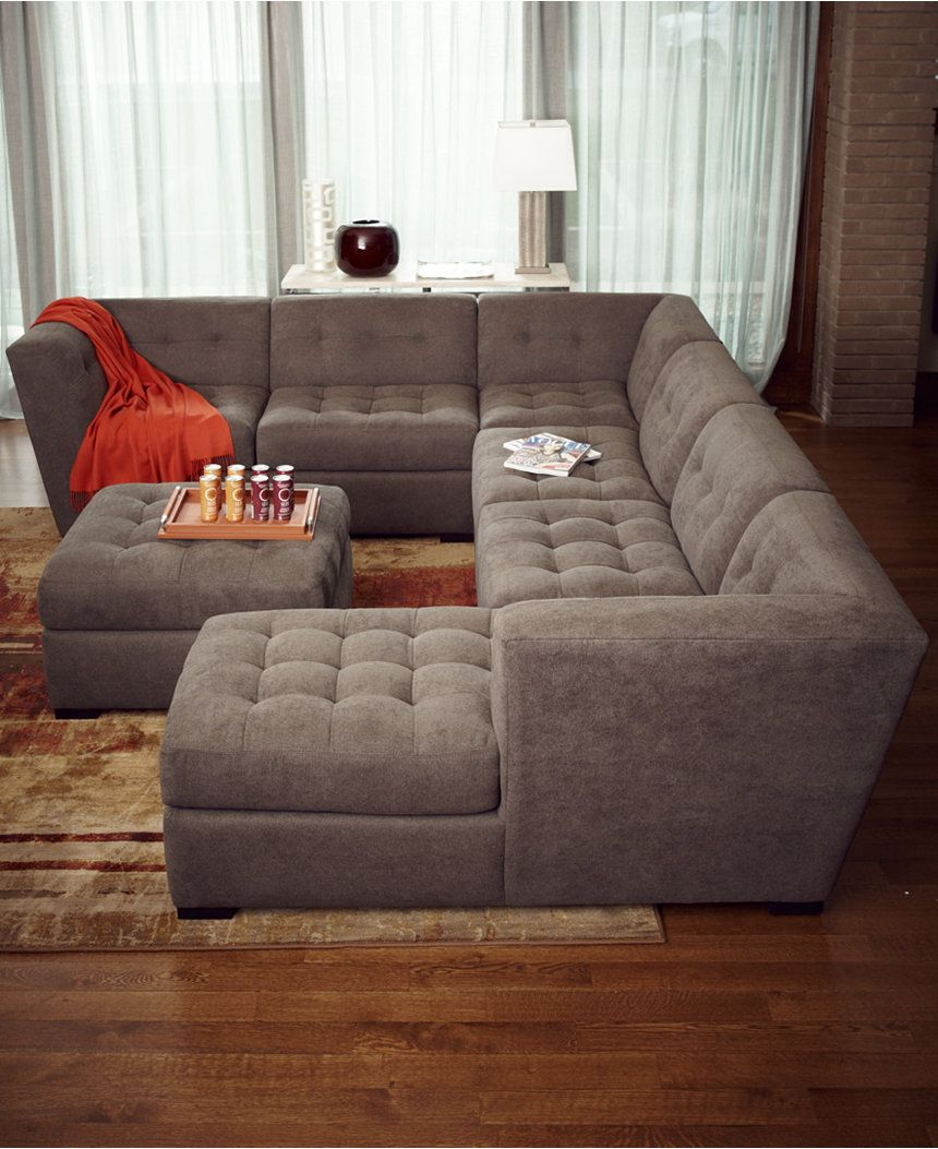 Roxanne fabric 6 piece modular sectional sofa with ottoman for Sectional sofa or two sofas