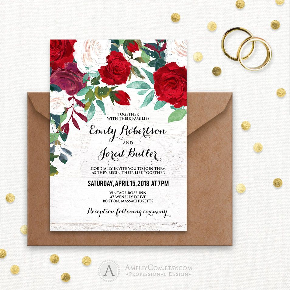 Red Wedding Invitation Printable - Rustic Wedding Invitation ...