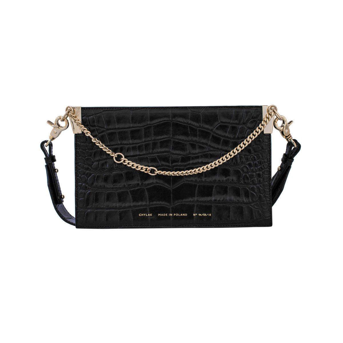 "de3361496 Chain Bag ""glossy black crocodile"" - Chylak   Clutch in 2019   Bags ..."