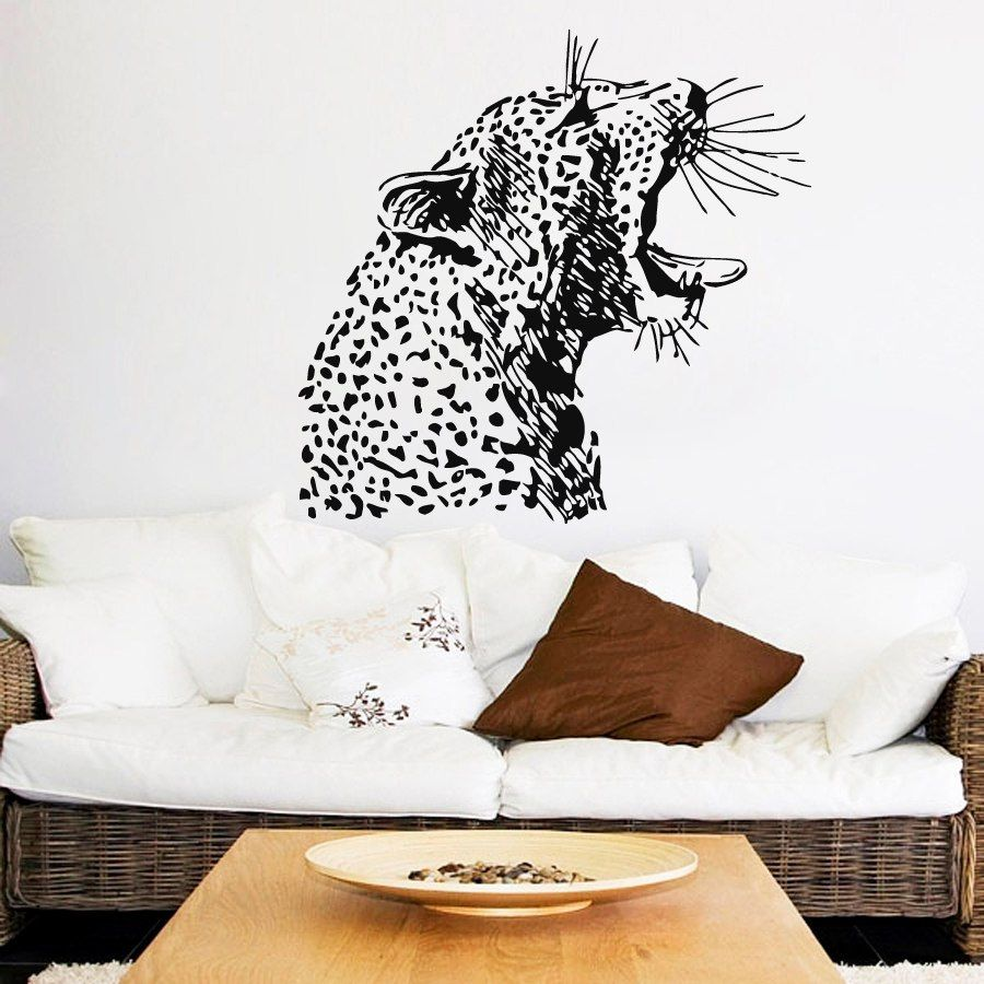 Angry Cheetah Head Pattern Art Wall Murals Home Livingroom Special ...