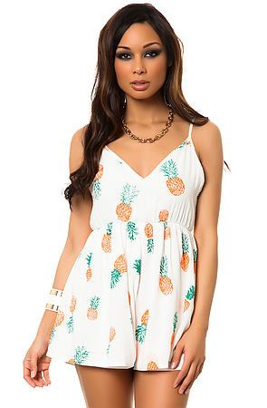 Pinneapple Print Playsuit (2 colors available)