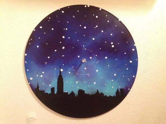 Nyc Skyline Painted Record Wall Art By Valderie On Etsy