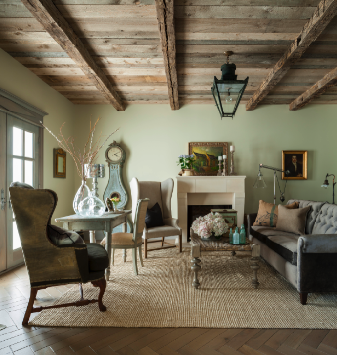 Rustic Wood Ceiling And Aqua In A French Country Style Living Room On Hello Lovely French Country Living Room Country Living Room Country House Decor