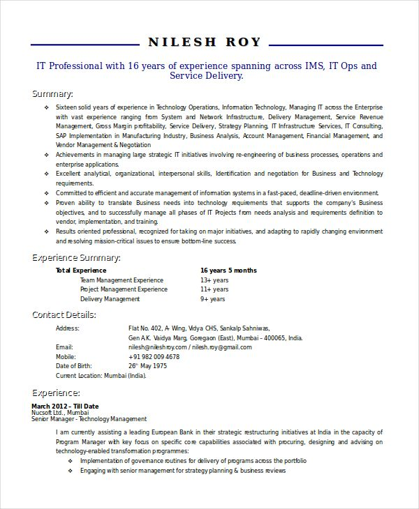 Technical Manager Resume , Using the Technical Resume Template and - department manager resume